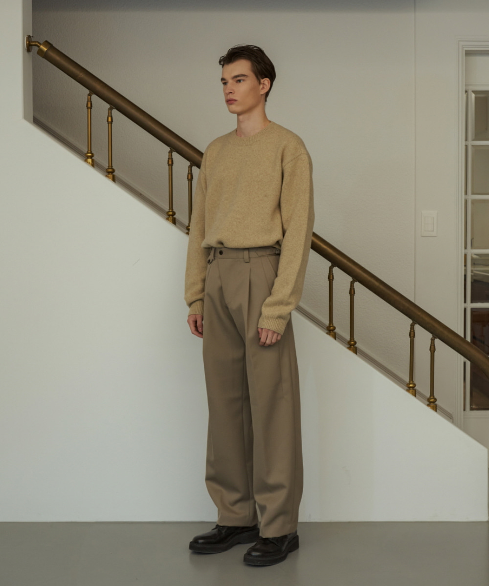 STU에스티유 One Tuck Loosefit Slacks Beige (Diagonal Line)