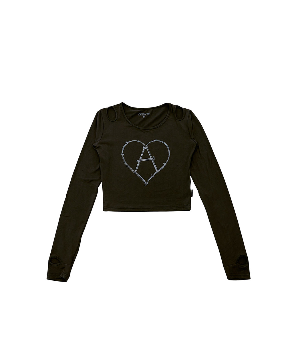 JOEGUSH조거쉬 Women's Heart-A Long sleeves (Blk)