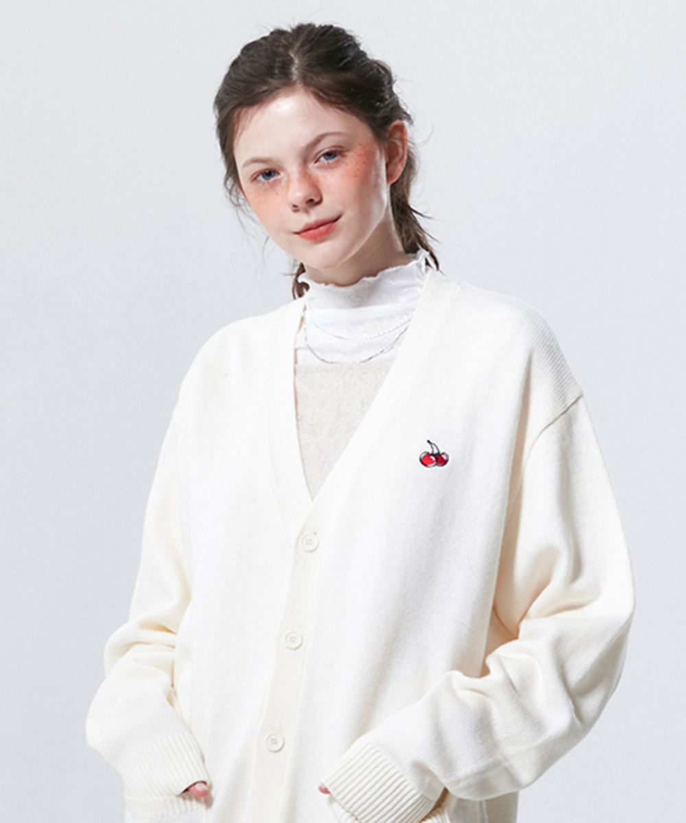 KIRSH키르시 SMALL CHERRY V NECK CARDIGAN KS [IVORY]