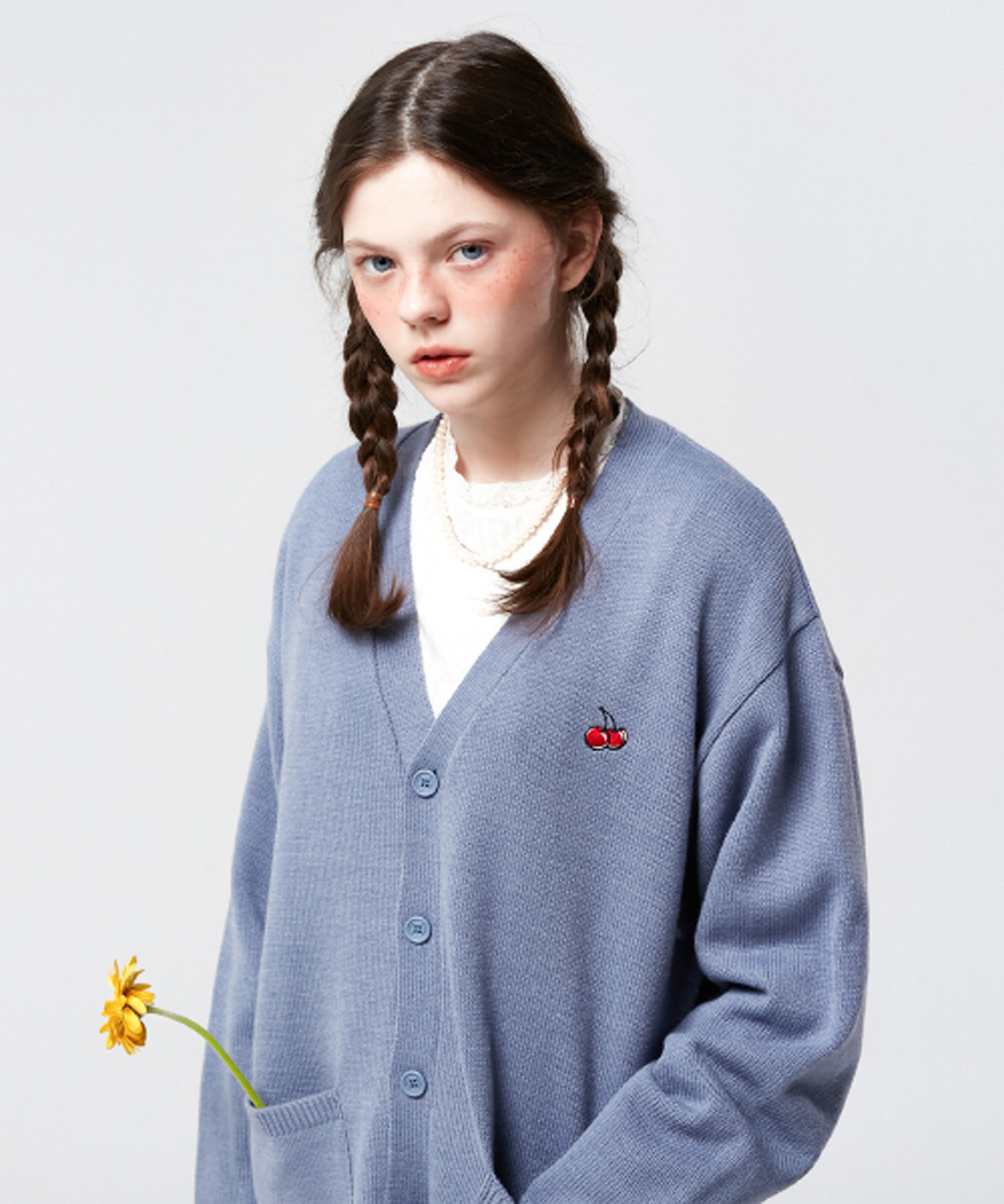 KIRSH키르시 SMALL CHERRY V NECK CARDIGAN KS [BLUE]