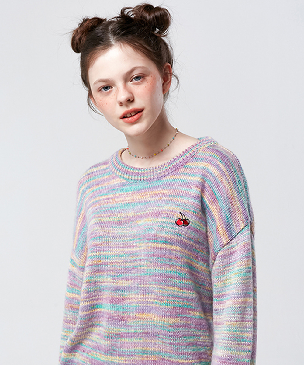KIRSH키르시 SMALL CHERRY DYEING KNIT KS [PURPLE]