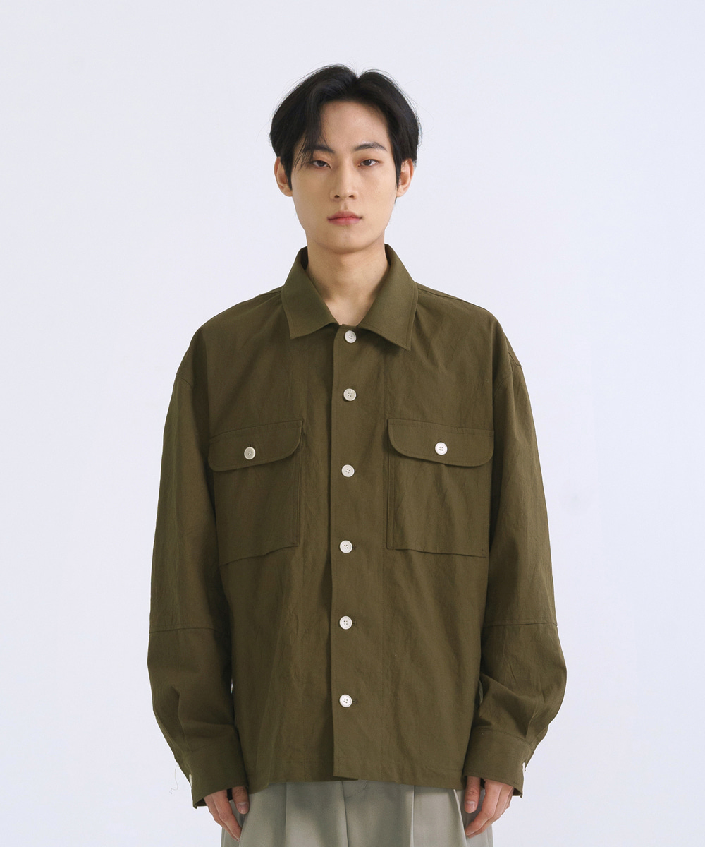 NOUN노운 wrinkle shirt jacket (khaki)