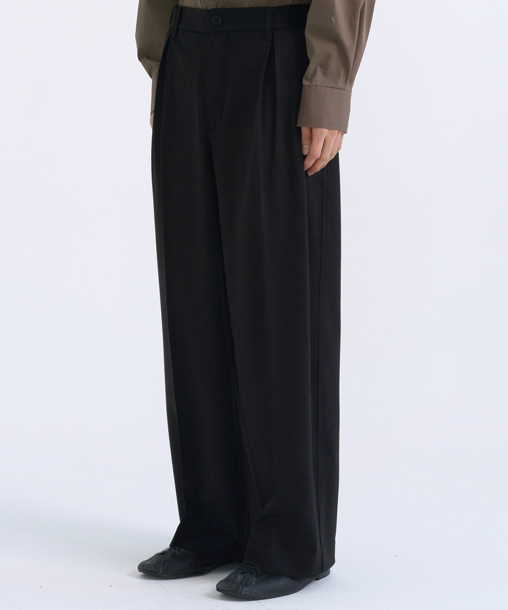 NOUN노운 pleated half banding wide pants(black)