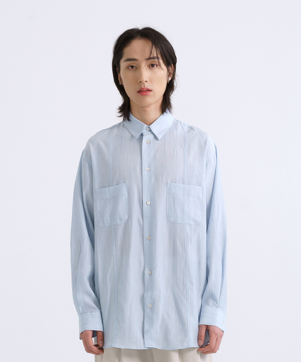 NOUN노운 wide wrinkle shirt (sky blue)