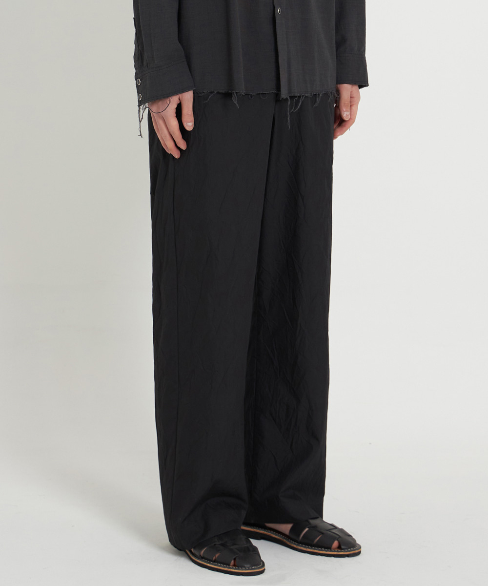 YOUTH유스랩 Crease Wide Pants Black Crease