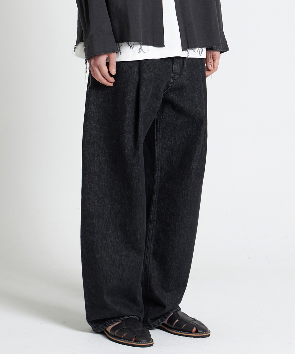 YOUTH유스랩 21SS Structured Wide Denim Pants Washed Black
