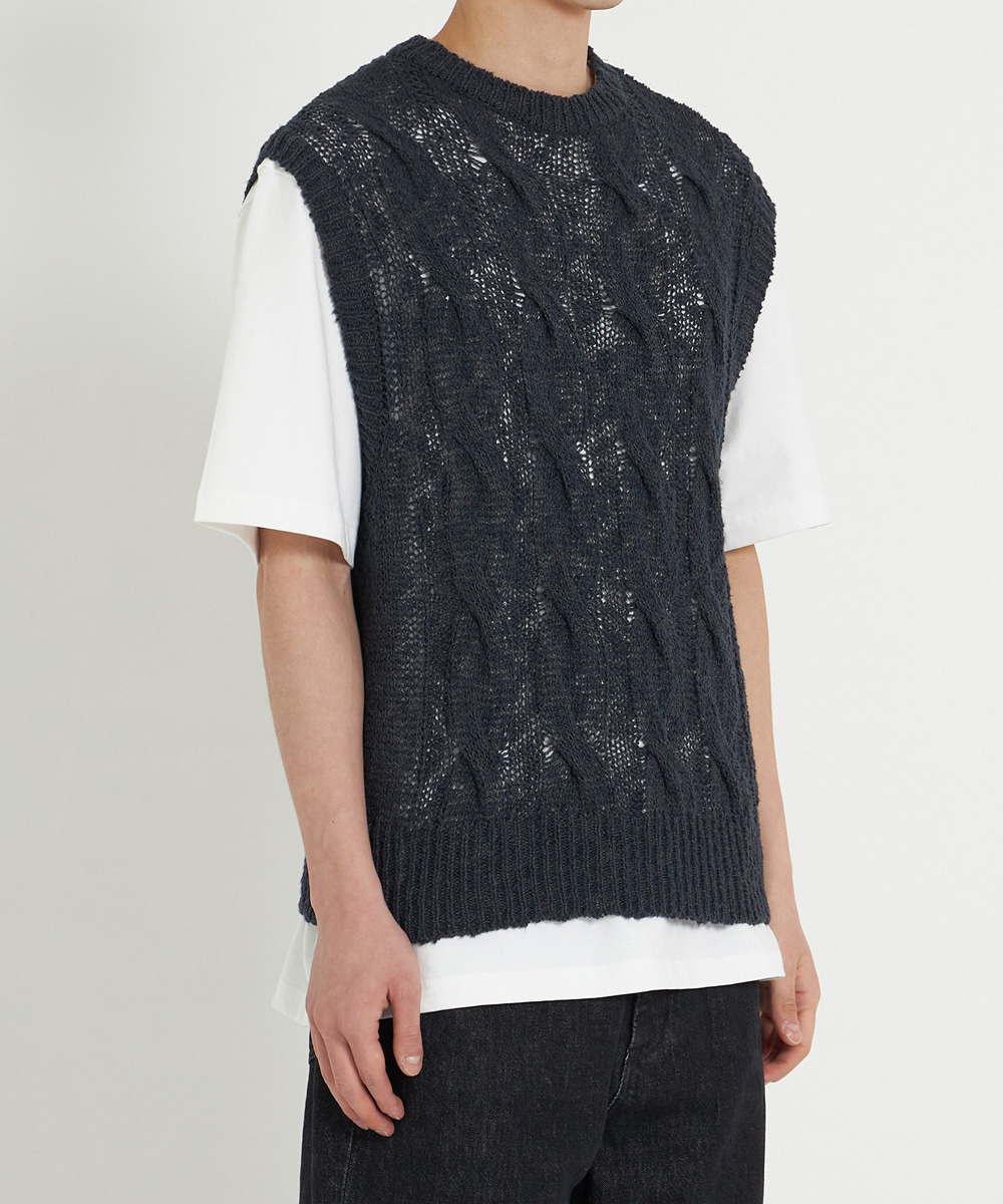 YOUTH유스랩 Twist Cable Knit Vest Black
