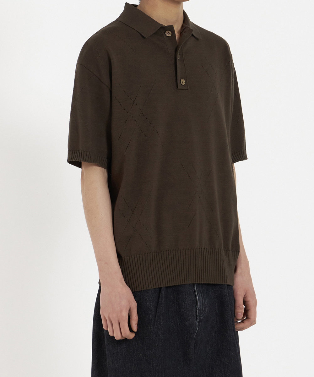 YOUTH유스랩 Knit Collar Half T-Shirt Brown