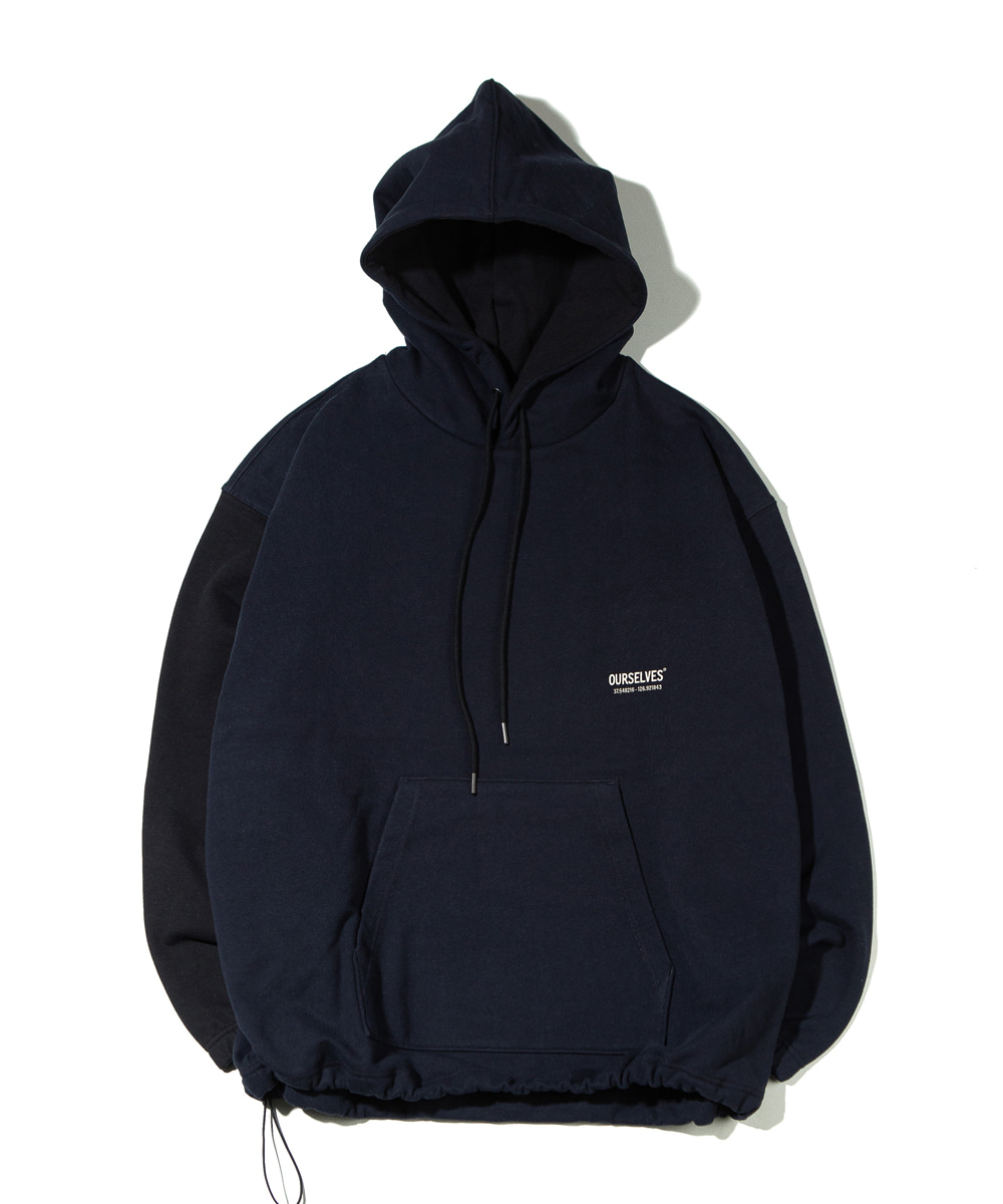 OURSELVES아워셀브스 LOGO PLAY SWEAT HOODIE (navy/black)