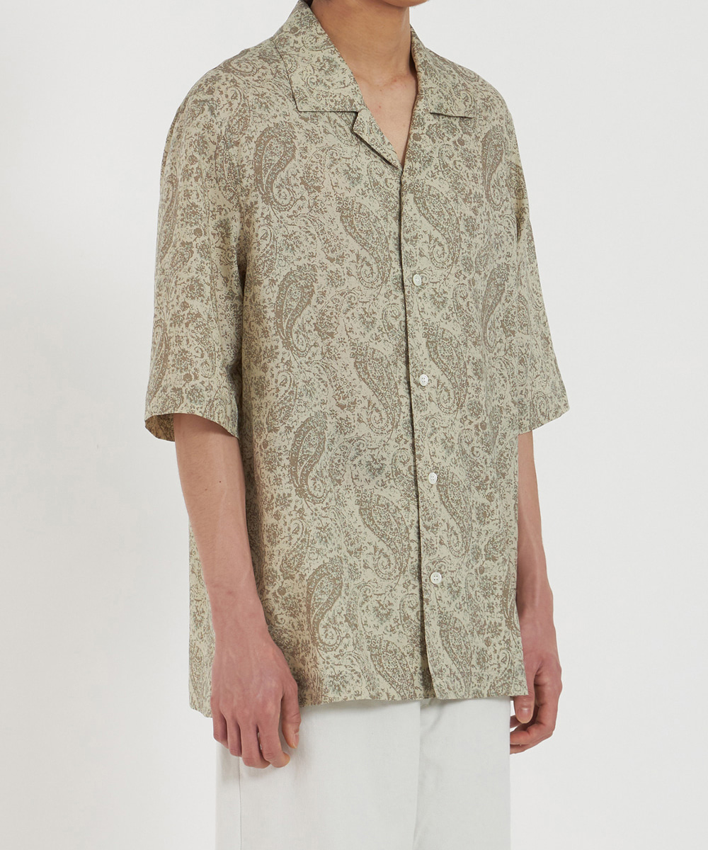 YOUTH유스랩 Open Collar Half Shirt Beige Paisley