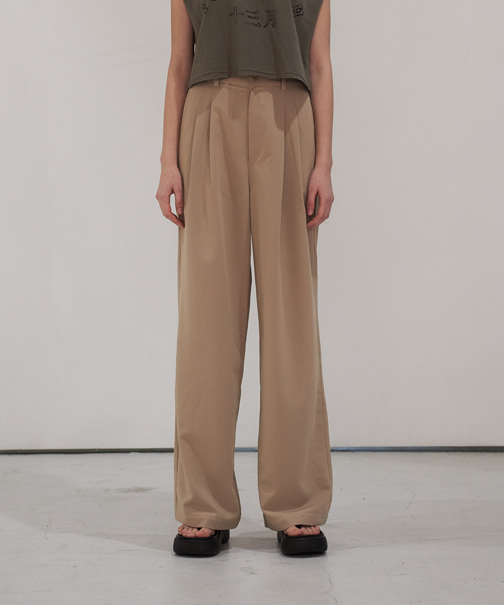 13MONTH써틴먼스 TWO TUCK WIDE PANTS (BEIGE)